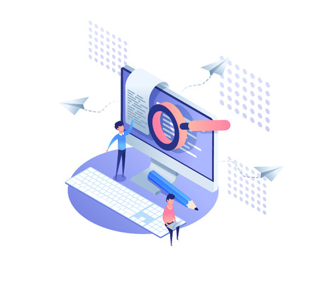 Template analytics landing page. Isometric optimization analysis,  data collection concept. IT specialists working around web pages.time management business planning. vector illustration for website