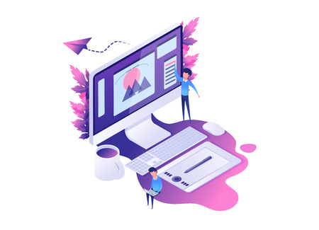Modern Isometric concept of designer or illustrator workplace with computer graphic tablet,  with design parts on screen. with creative helping team. vector illustration with purple and violet colors.
