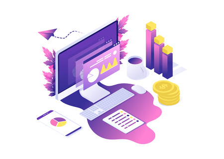 Modern web concept with flat isometric design of data analysis. with computer, diagram, graphics, coins. vector web landing for website or mobile. purple and violet colors with leafs on background.