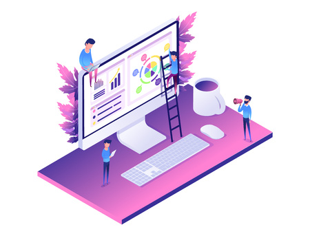 Modern web concept flat isometric design of data analysis. computer, diagram, people helping create graphics, coins. vector web landing for website or mobile. purple, violet colors.leafs on background Illustration