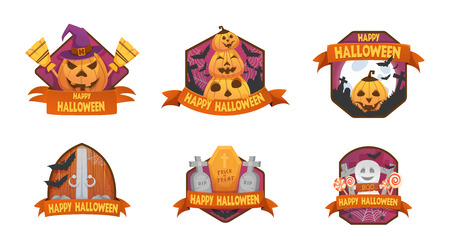 Set of cartoon style Happy Halloween emblems. labels and budges.with pumpkin heads. old scary  medieval doors, coffin, witch hat, tombstone, ghost,  bat . stickers, paper cut tags. Standard-Bild - 110209329