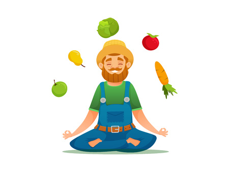 Farmer in yoga pose sitting around fruits and vegetables. vector cartoon illustration. isolated vector illustration