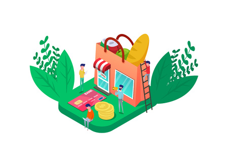 Isometric online grocery food shop look like shopping bag full vegetables, bread, can of soda water. credit card and coins. Retail marketing vector illustration.  green leafs. isolate on white