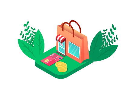 Colorful Isometric online shop look like shopping bag. with credit card and coins. Retail marketing vector illustration. With green leafs. isolating on whit background