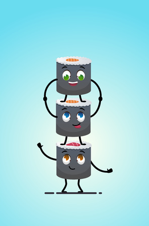 Sushi delivery. Happy smiling cartoon asian food take away concept. Sushi standing on each other. Japanese food. Vector cartoon. isolated objects.