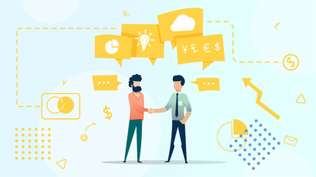Business characters man talking  discussing work, ideas, diagram, finance, cloud in chat bubble. vector flat illustration. Illustration
