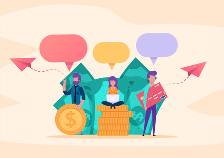 Web page illustration concept. small people business parters or customers speaking  chatting about money, successful investment, business startup. with money and coins, dialogue speech bubbles. vector