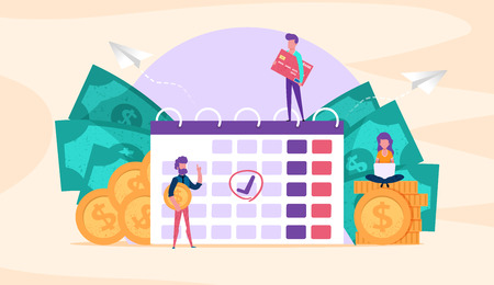 Web page illustration concept. small people with coins, credit card. time management. save money.payment due. business goal. analysis successful investment, startup vector for presentation blog social