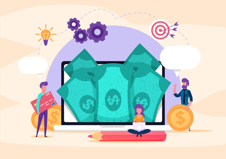 Web page illustration concept. small people credit card, money, coins. investment business. Online payment, internet bank. banking operations. illustration for presentation blog or social sites. Illustration