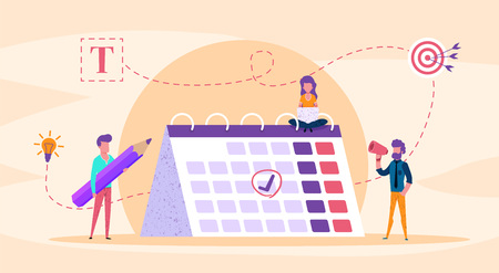 Web page illustration concept. small people fill calendar. with big pencil. time management analysis  illustration for presentation blog or social media. vector modern flat