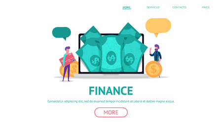 Modern flat concept for finance or business web landing with little people holding money and credit card. Online,  payment bank with laptop screen full of cash. vector isolated objects and people.
