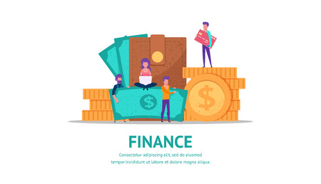 Modern flat illustration concept for finance or business web page landing with little people holding money. with wallet full of cash and coins. vector isolated objects and people.