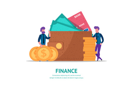 Modern flat illustration concept for finance or business web page landing with little people leaned on stack of coins. wallet full of cash and credit card. vector isolated objects and people.