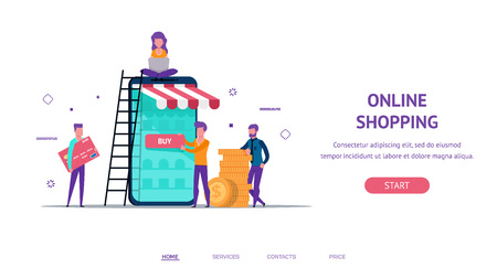 Modern flat concept for online shop payment web landing with little people creating shop. buy button. holding money and credit card. Online,  payment.vector isolated objects and people. Illustration