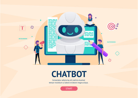 Chatbot future concept. helping bot monitor screen. artificial intelligence with little people chatting with robot. Dialog help service. AI.  illustration for landing web page or mobile development. Illustration