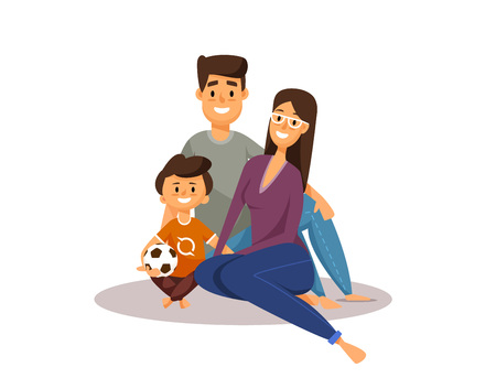 Happy family. Cartoon characters. Father, mother and son with football ball. smiling happy group of people. vector flat illustration isolated on white background. Illustration