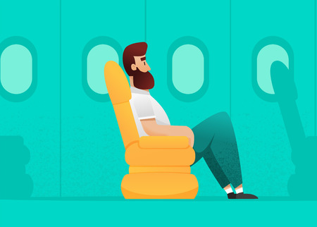 Simple flat style. airplane passenger seating in plane chair. with big legs. more extra space for leg.vector plane interior. comfort flying. Illustration