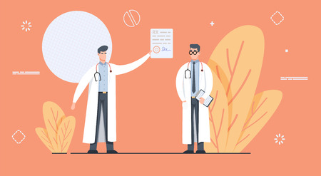 Modern flat style online medical consultation. Medicine health concept for landing web page or mobile design. diagnosis doctors characters speaking and show receipt. health care service. vector. Illustration