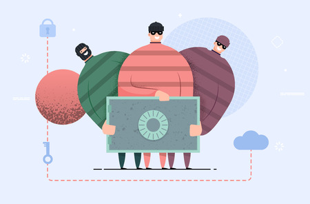 robbers gang with safe box. Group of thief steal money. Security breach. bank account hacking. Fun flat modern style. illustration concept for web landing. Illustration