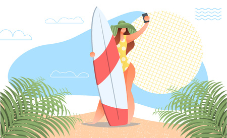 Beautiful girl making selfie with surf board on beach with palm leaves, sun. Modern flat style for landing web page. summer vacation. Woman in swimsuit wearing hat with mobile phone. Illustration