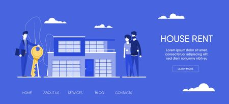 Website template for websites, or apps. realtor holding key in his hand and sells, rent house to young couple family.estate agent and happy client. Application form and key. modern flat illustration. Illustration