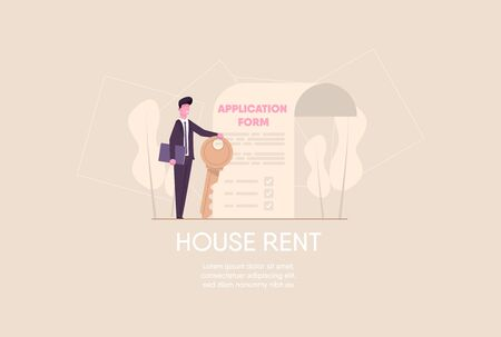 Successful realtor holding key in his hand and sells, rent house .estate agent with application form.  modern flat illustration. web design landing concept.