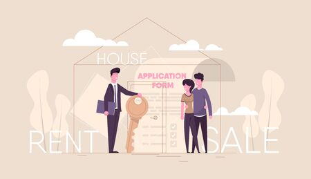 Successful realtor holding key in his hand and sells, rent house to young couple family.estate agent and happy client. Application form and key. modern flat illustration. web design landing concept.