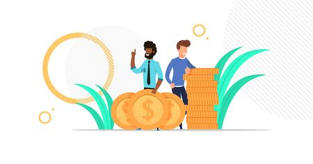 business man team standing with big golden coins. stuck of money. Investment. cartoon flat character design illustration. vector eps 10