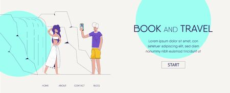 Website template for websites or apps. Man Guy is taking pictures of his girlfriend near waterfall.  modern flat illustration. Book and travel landing page. vector. eps 10 Illustration