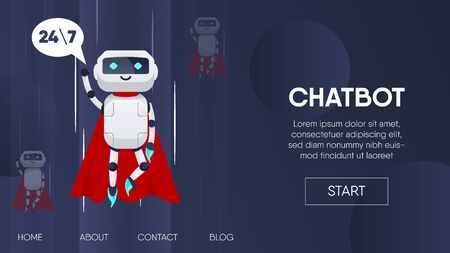Superhero flying. Chatbot business concept. Chatbot, artificial intelligence, customer support, hotline with bot. AI and business IOT concept.Website template landing for websites or apps.