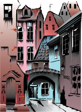 Europese middeleeuwse stad. Collectieve uiterlijk op basis van een groot aantal Europese hoofdsteden. Kunnen dienen als prototypes Praag, Krakov, Riga