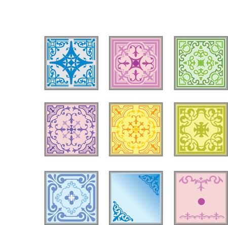 Set of decorative finishing ceramic tiles