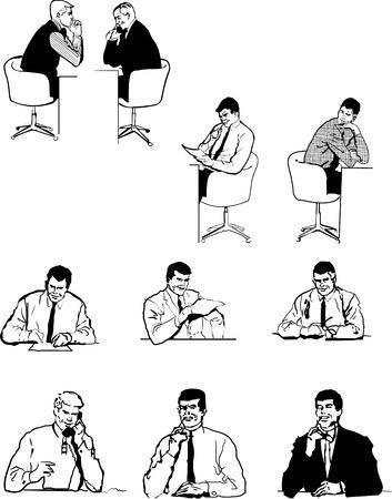 Ten silhouettes office men. One click color change Illustration