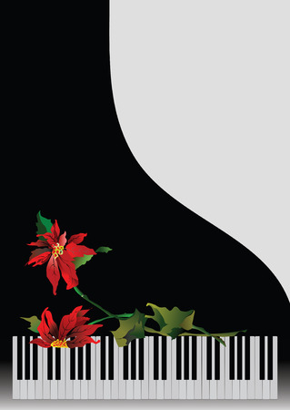 lyric: Template greeting card with piano and flower Illustration
