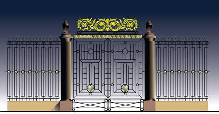 puertas de hierro: Puertas de hierro viejo y barandilla