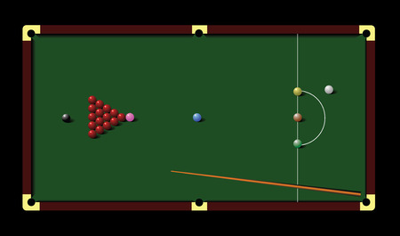 pool hall: Snooker table and cue