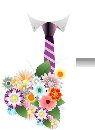 nosegay: Shirt,  tie and nosegay Illustration