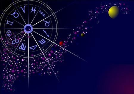 cielo estrellado: Carta de plantilla con cielo estrellado, la V�a L�ctea y el mapa del Zodiaco  Vectores