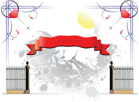 Curled red ribbons on grunge background with iron fence Vector