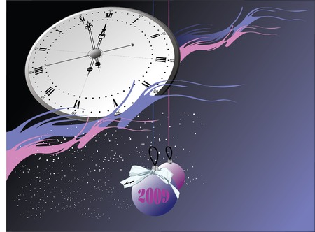 Snowflakes, clock and balls. Christmas. Background for card. Vector Vector