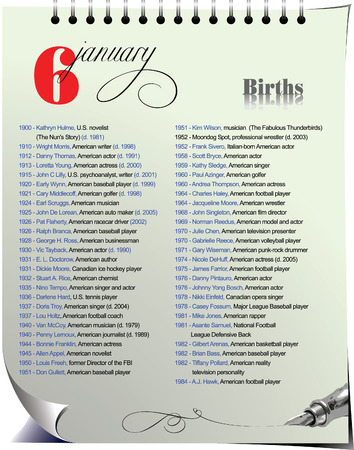 historical events: Calendar page with historical events � 6 January