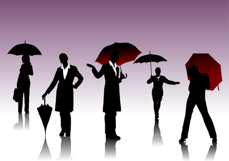 Women  with umbrella silhouettes Vector