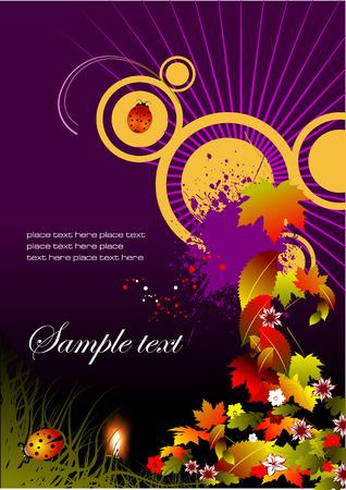 autumnally: Grunge autumn floral background, vector illustration
