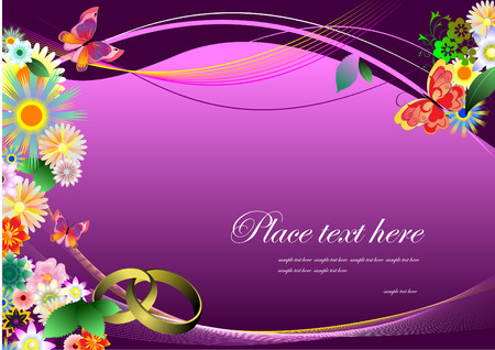 Wedding invitation on purple background Stock Vector - 3775925