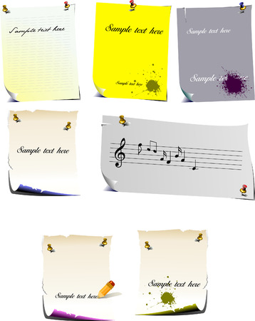 postit note: Set of note pages vector illustration Illustration