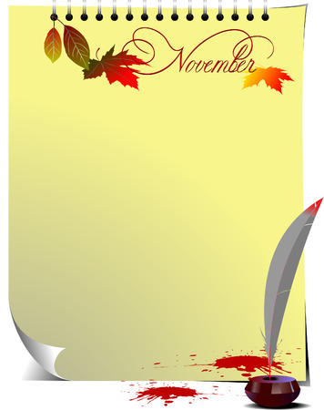 Note page with Ink pot, feather and blots Vector