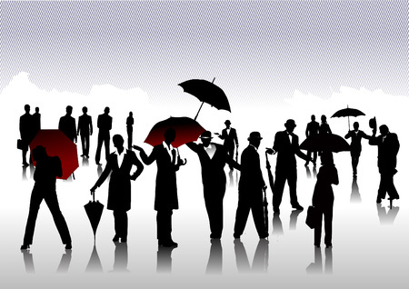controversy: Men and women with umbrella silhouettes