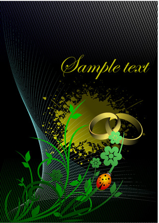 Floral grunge background with wedding rings and beetle Stock Vector - 3782072