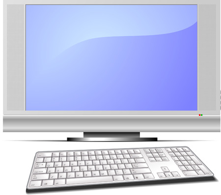 Display and keyboard vector illustration Vector