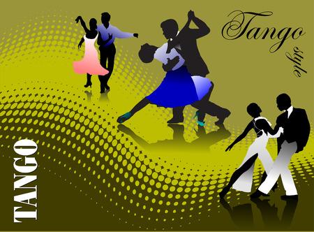 elasticity: Three couples dancing a tango vector illustration